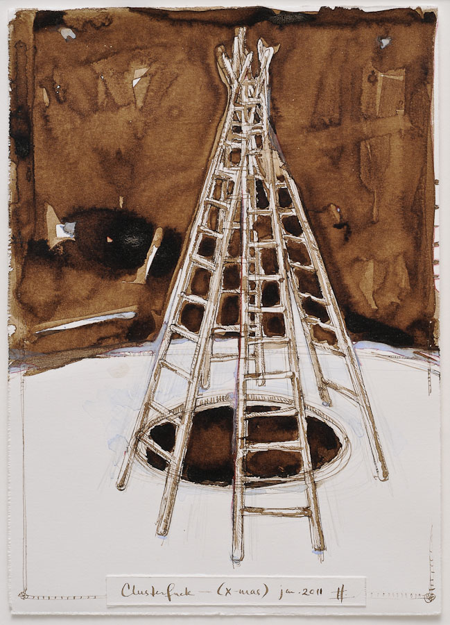 watercolor and walnut ink painting of tangled ladders in form of christmas tree with text