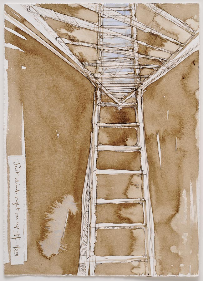 watercolor and walnut ink painting of tangled ladders with text