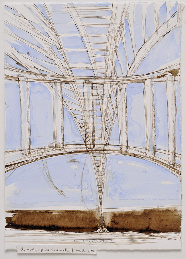 watercolor and walnut ink painting of ladder conundrum with text