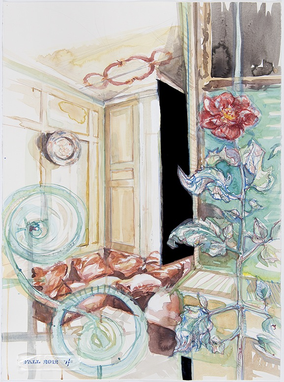 Watercolor painting of 18th French interior with botanicals