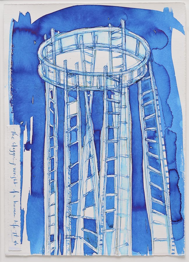 watercolor and ink painting of group of ladders supporting circular ladder with text