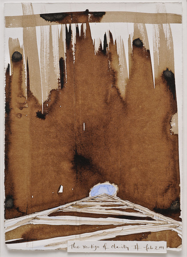 watercolor and walnut ink painting of ladder descending into aperture with text