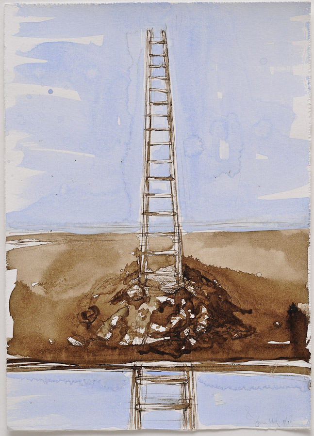 watercolor and walnut ink painting of ladder emerging through mole hill with text