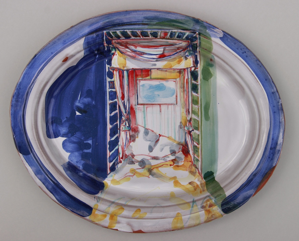 Laddered bed. Oval plaque. Cobalt blue, yellow, green and red